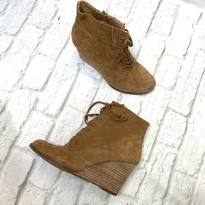 Lucky Brand brown side wedge booties